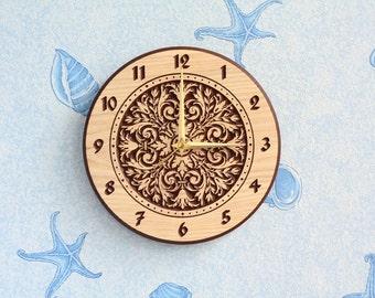 Arabesque Wood wall clock Wood clock Wooden clock Round clock Christmas gift Birthday gift Room decor for Kitchen decor