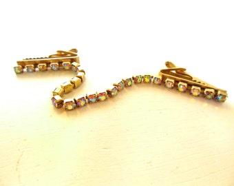Vintage Sweater Guard Aurora Borealis Rhinestone Gold 50's (item 144)