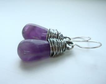 Purple earrings - Amethyst earrings - February birthstone - Wire wrapped jewelry - Purple jewelry - Simple earrings - Wire wrap earrings