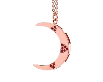 Crescent Moon pendant set with Rubies in Rose Gold with or without chain