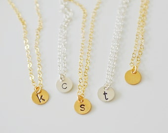 Tiny Personalized Gold Letter Necklace, Sterling Silver Initial Necklace, Initial Dot Necklace, Silver Dot Necklace, Circle Disc Pendant