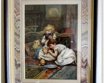 "Lizzie Mack & Robert Mack,"" The New Pets"" E. Nister Nuremberg,1880 Archival Frame"