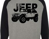 Jeep Sweatshirt-Crewneck-Off Road Vehicle-4 Door Black Wrangler Sweatshirt in Grey with black sleeves