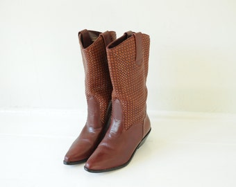 Vintage Brown Woven Leather Dingo Boots, Womens 6 1/2 / ITEM012