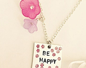 Be Happy Floral Necklace - Be Happy Necklace - Floral Necklace - Hand Stamped Necklace - Be Happy - Positivity -  Hand Stamped Jewelry