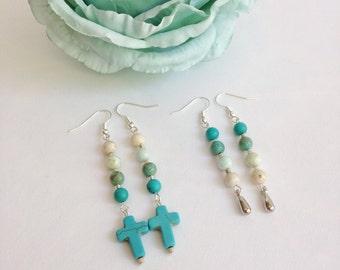 Ombré turquoise earrings, gemstone earrings, bead earrings, crosses earrings, unique earrings, boho, bohemian, hippie gypsy earrings