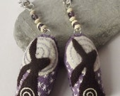 Recycled Eco Felt Hand Embroidered Moon Gazing Hare Spiral Bag Charm, Purse Charm,Keychain, Purple Fluorite Gemstone