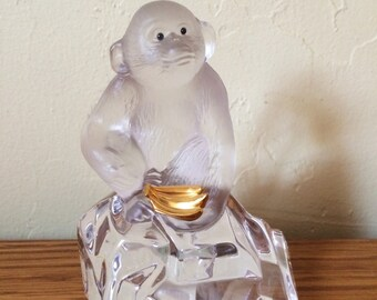 Vintage Faberge Crystal Glass Monkey Chimpanzee Figurine Glass Paperweight France Signed Igor Carl Faberge Franklin Mint