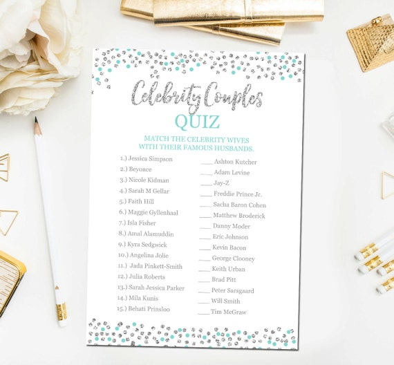 Celebrity Wedding Trivia Questions: Teal And Silver Bridal Shower Games Celebrity Couples Quiz
