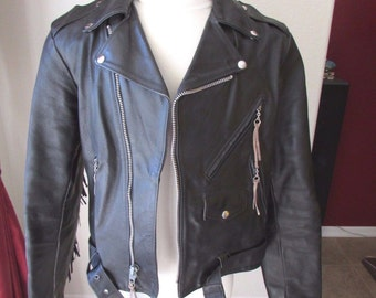 Vintage Distressed Excelled Fringe Genuine Leather Motorcycle Jacket Womens Large