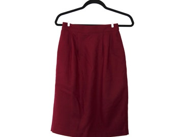 """Vintage Pencil Wool Skirt, Small Waits, 25"""" Waist, Pinup, Burgundy, Red, 60's skirt, Size Small 4-6, Office Wear, High Waisted, Elegant"""