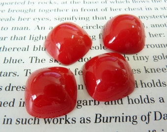 2 glass cabochons, 18x18mm, opaque red, high dome
