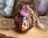 double terminated tibetian elestial amethyst kyanite crystal goddess clay pendant