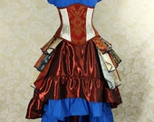 """Red and White Patchwork Waspie Corset - Corset Size 30, Fits Waist 33""""-35"""" - Ready to Ship"""