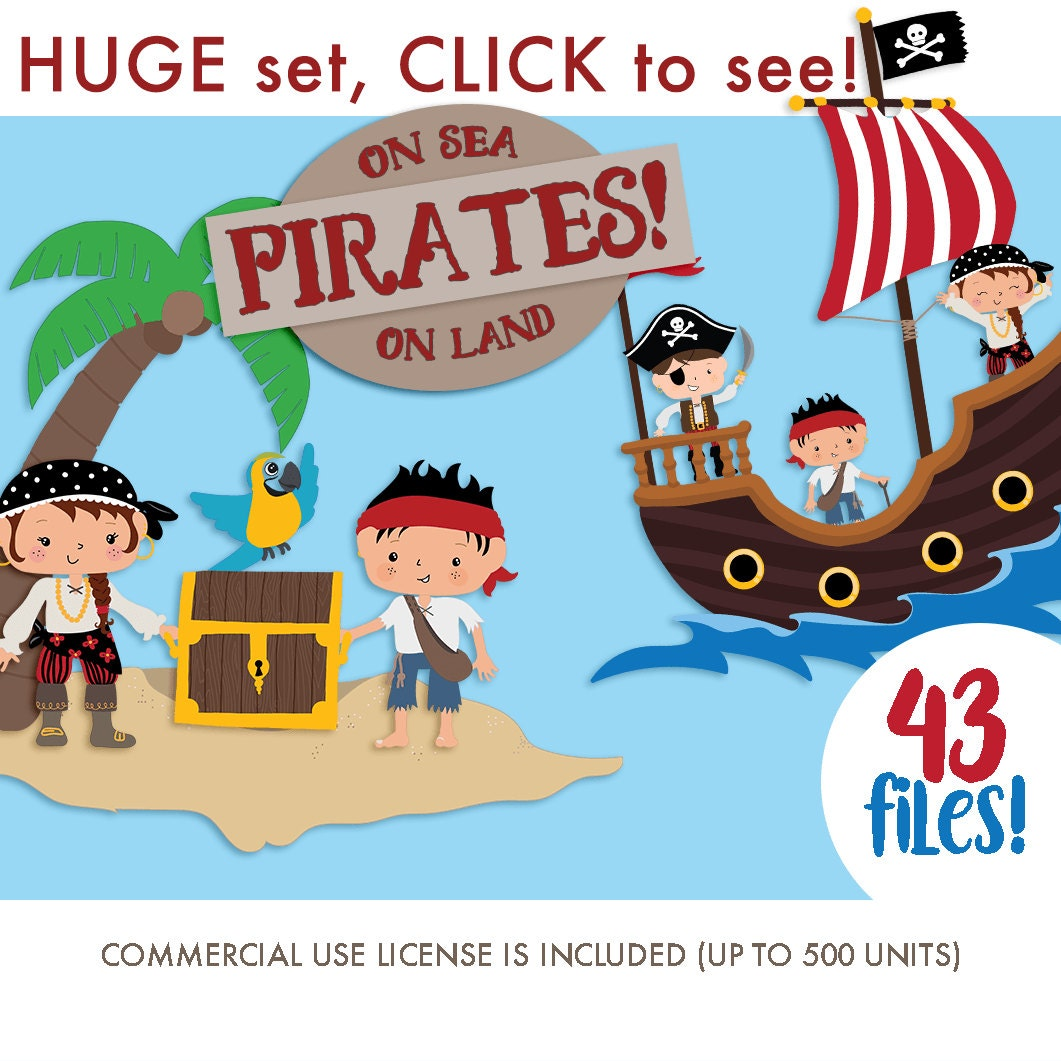 Cute pirate clipart | Etsy