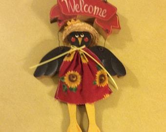 Black Crow Handmade Wooden  Door Hanger Welcome Scarecrow 1980's