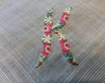 "Vintage Embroidery Fine Linen Letter ""K""Wedding Hanky Something Old"