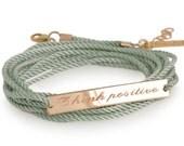 Motivational bracelet Think positive bracelet, gift best friend , Personalized bracelet, string jewelry inspirational bracelet Free shipping