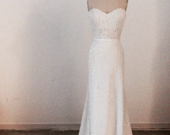 Daph White Sequin Skirt&Lace Bustier//  White fitted Sequin Skirt // Wedding Dress Separates//Elegant Chic