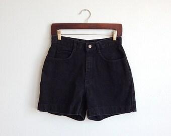 Vintage High Waist Black Denim Lee Shorts Size S/M