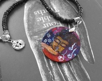 Shh! Hand painted Samadhi necklace, from mixed media, wearable art, painting, meditating, Siddhartha, Buddha, artisan, Buddhist necklace,