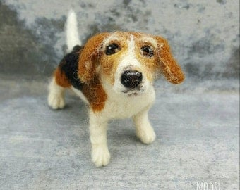 Beagle sculpture, personalized portrait, custom felt dog, needle felted dog replica, faux taxidermy, likeness to your dog, MADE to ORDER