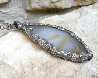 Agate Slice with Druzy Edged with Sculptured Metal Pendant Necklace Stoned Metal Selah Gay