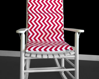 Rocking Chair Cushion Cover - Red White Chevron, Ready to Ship