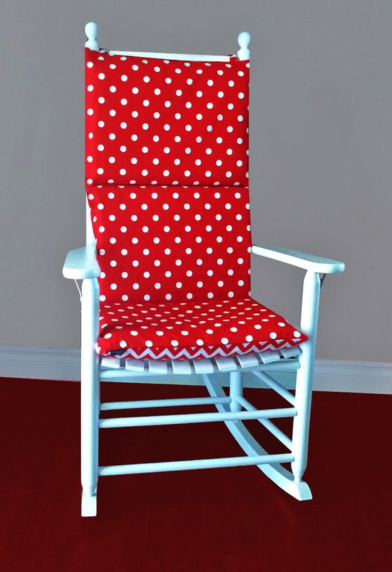 Red Rocking Chair Cushions ~ Rocking chair cushion cover red white polka dot chevron