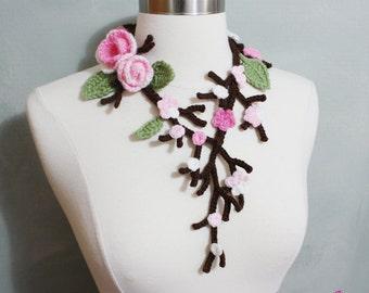 Unique Crochet Cherry Blossom Necklace, Cherry Blossom, Cherry Blossom with Branch and Leaves