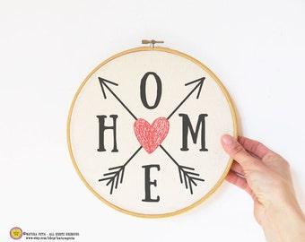 Arrows home quote Embroidery Hoop Art-hand printed hoop-boho hoop wall art-arrows wall art-custom quote hoop art-NATURA PICTA EHO13