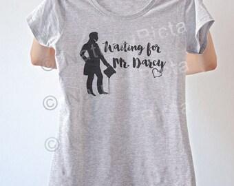 Waiting for Mr Darcy Jane Austen shirt-literary shirt-Jane Austen t-shirt-book quote tee-silhouette shirt-women tees-NATURA PICTA NPTS061