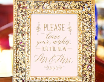"""Printable Wedding Guest Book Sign, INSTANT DOWNLOAD Hand Drawn, Calligraphy, Blush Pink and Gold, 5 x 7"""""""