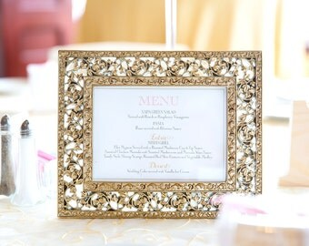 Wedding Menu -- Blush Pink, Gold, Simple, Classic, Elegant, Calligraphy, Engraved, Printable, Event -- Pomp Creative