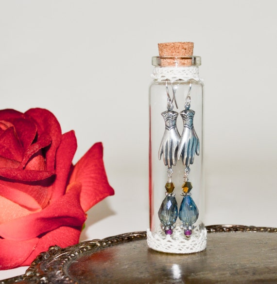 Victorian Style Hand Earrings, Dangle Earrings, Bohemian Jewelry, Drop Earrings, Victoriana Jewelry, Glass Bottle Display Jar, Hand Jewelry