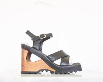 90s Black Leather Platform Wood Heel Wedges / Ankle Strap Sandals / Size 7.5 US - 38 Eur - 5.5 UK