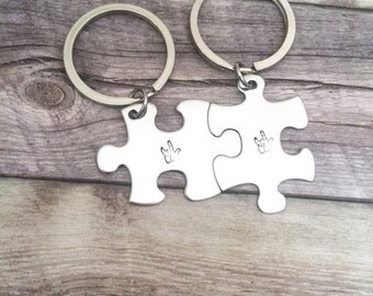 Puzzle Piece Keychain, I love you Sign Language, ASL Gift, Couples Keychains, Couples Gift, Gift Idea, Ready To Ship, Gifts under 30
