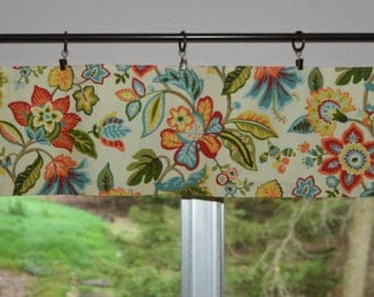 "Kitchen Valance . Mini Valance  8""x 52"" . Waverly Wonderama . Toucan . Waverly Floral Fabric .  Use Ring Clips or Slide on Curtain Rod"