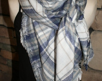 Plaid Tartan Blanket Scarf Blue Gray Plaid Scarf Christams Gift Scarves Zara Style Plaid Bloggers Favorite-New Color