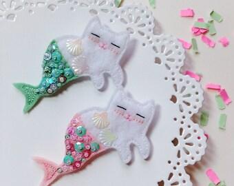 Meowmaid Mermaid Kitty Felt Brooch - White