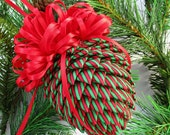Fabric Pinecone Christmas Ornament - Red and Green Stripes - Stocking Stuffer, Co-Worker Gift, Ornament Exchange Gift