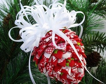 Fabric Pinecone Ornament - Abstract Christmas Designs on Red with White Satin Bow - Christmas Ornament, Stocking Stuffer, Co-Worker Gift