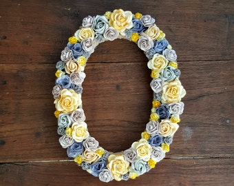 Flower Letter Floral Letter Grey Yellow Flowers Personalised Wall Letter Initial Monogram Nursery Decor Baby Shower Gift