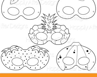 Fruits Printable Coloring Masks, strawberry mask, banana mask, orange, apple, pineapple, fruit costume mask, fruits, apple costume, oranges