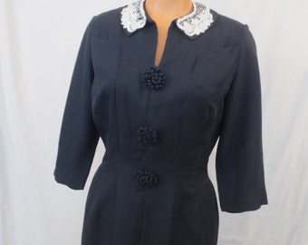 NIGHT AND DAY classic hourglass dress - dark navy blue - forties style - sz M