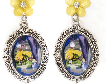 Alice in Wonderland Mary Blair Tribute Yellow Flower Antique Silver Cameo Earrings