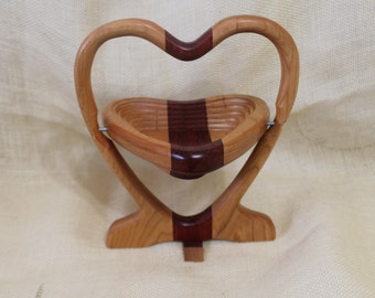 Heart Shaped Collapsible Basket / Trivet in Cherry and Padua Hardwoods