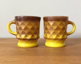Fire King Mugs Kimberly Pattern Golden Yellow Vintage Coffee Cups