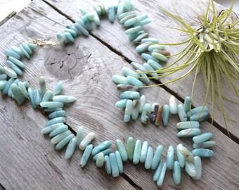 amazonite gemstone fan necklace