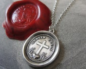 God's Grace Uplifts - Wax Seal Necklace with Latin motto Cross Heart - antique wax seal jewelry by RQP Studio